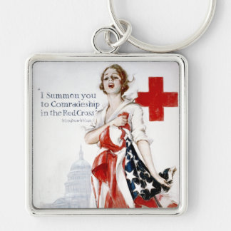 American Red Cross Vintage World War I Poster Silver-Colored Square Keychain
