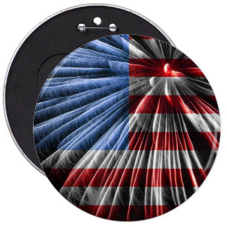 American Red White & Blue Flag Over Fireworks 6 Inch Round Button