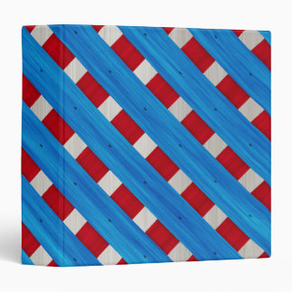 American Red White Blue Wooden Lattice Look 3 Ring Binder