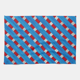 American Red White Blue Wooden Lattice Look Kitchen Towel
