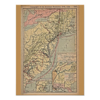 American Revolution Colonies Map Poster