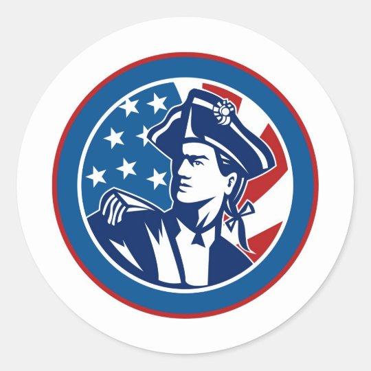 American revolutionary general soldier minuteman classic round sticker