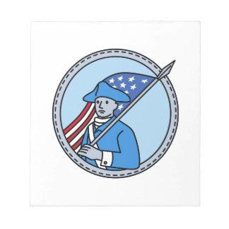 American Revolutionary Soldier Flag Circle Mono Li Notepads