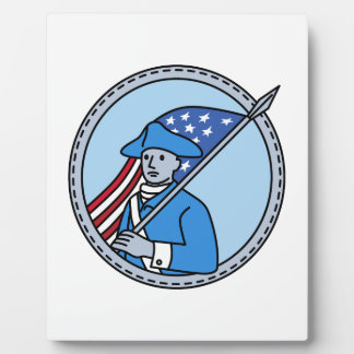 American Revolutionary Soldier Flag Circle Mono Li Plaque