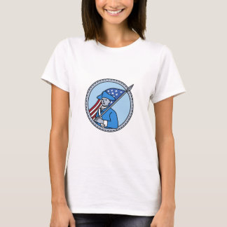 American Revolutionary Soldier Flag Circle Mono Li T-Shirt