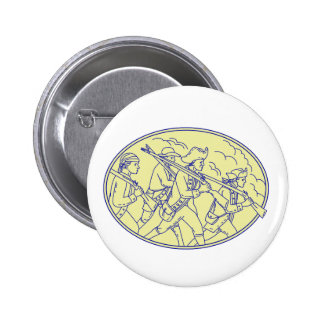American Revolutionary Soldiers Marching Oval Mono 2 Inch Round Button