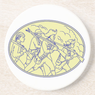 American Revolutionary Soldiers Marching Oval Mono Beverage Coaster