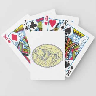 American Revolutionary Soldiers Marching Oval Mono Bicycle Playing Cards