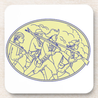 American Revolutionary Soldiers Marching Oval Mono Drink Coasters
