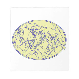 American Revolutionary Soldiers Marching Oval Mono Notepad
