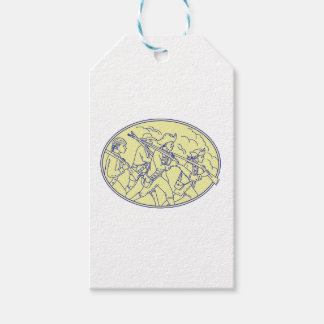 American Revolutionary Soldiers Marching Oval Mono Pack Of Gift Tags