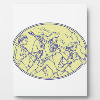 American Revolutionary Soldiers Marching Oval Mono Plaque