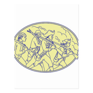 American Revolutionary Soldiers Marching Oval Mono Postcard