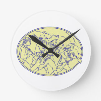 American Revolutionary Soldiers Marching Oval Mono Round Clock