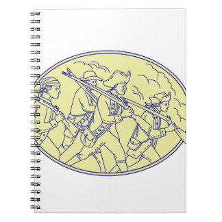 American Revolutionary Soldiers Marching Oval Mono Spiral Notebook