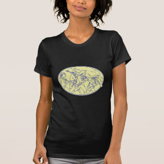 American Revolutionary Soldiers Marching Oval Mono T-Shirt