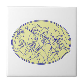 American Revolutionary Soldiers Marching Oval Mono Tile