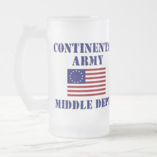 American Revolutionary War Frosted Glass Mugs