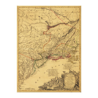 American Revolutionary War Map by J.B Eliot (1781) Canvas Print