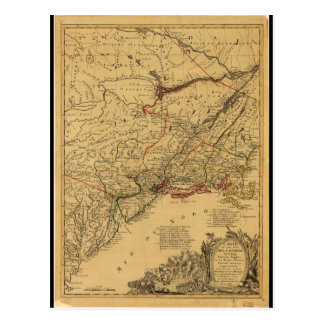 American Revolutionary War Map by J.B Eliot (1781) Postcard