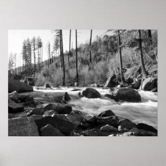 """American River"", Black & White Poster"