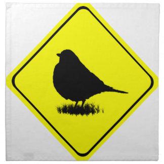 American Robin Bird Silhouette Crossing Sign Cloth Napkins