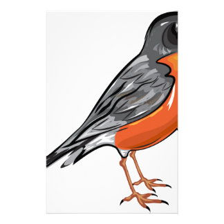 American Robin bird Vector illustration Personalized Stationery