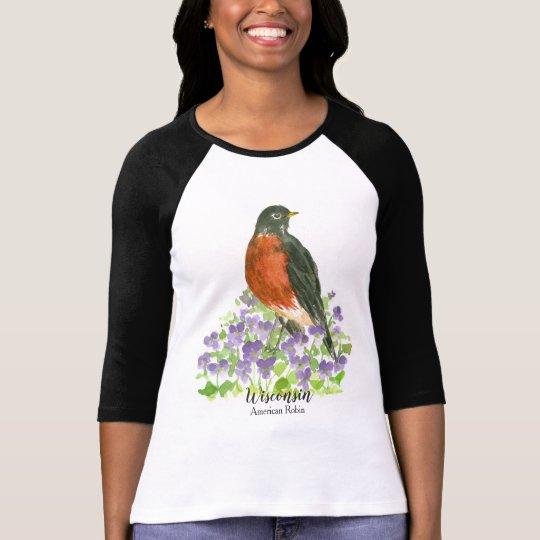 American Robin Wood Violet Watercolor T-Shirt