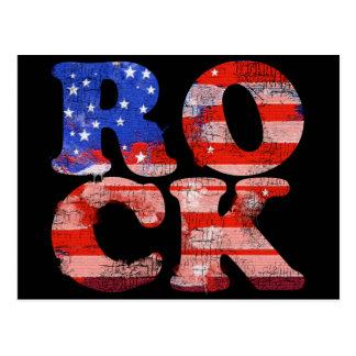 american rock music word flag postcard