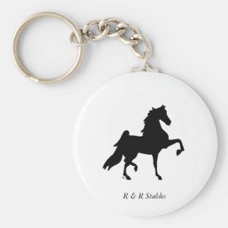 American Saddlebred Horse Key Ring Basic Round Button Keychain