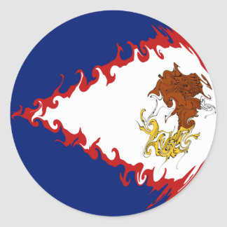 American Samoa Gnarly Flag Classic Round Sticker