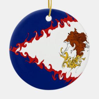 American Samoa Gnarly Flag Round Ceramic Ornament