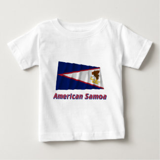 American Samoa Waving Flag with Name Baby T-Shirt