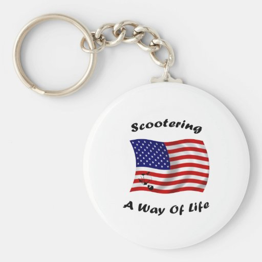 american scootering way of life white keychain
