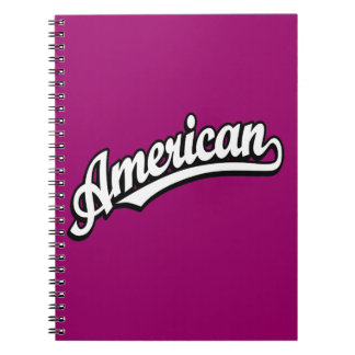 American script logo White and Black Note Books