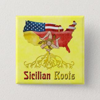 American Sicilian Roots Badge 2 Inch Square Button