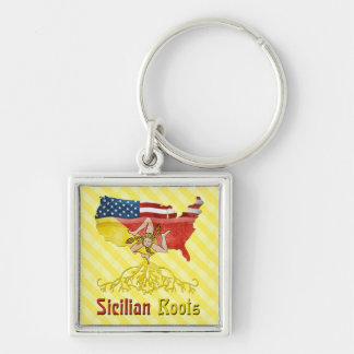 American Sicilian Roots Keyring