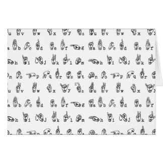 American Sign Language Alphabet in Black and White Card