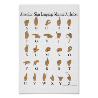 American Sign Language ASL Alphabet Poster