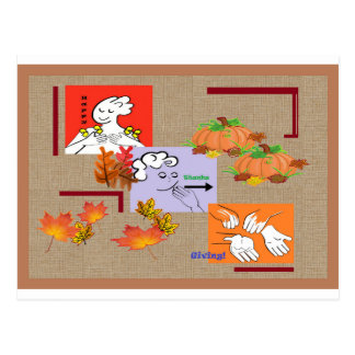 American Sign Language ASL Happy Thanksgiving! Postcard