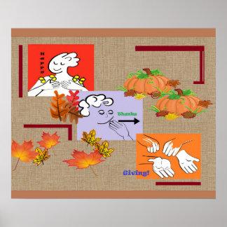 American Sign Language ASL Happy Thanksgiving! Poster