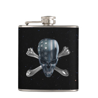 American Skull 6 oz Vinyl Wrapped Flask