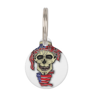 American Skull Pet Nametag