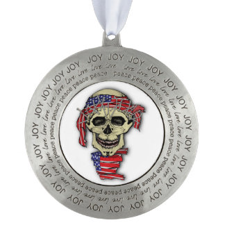 American Skull Round Pewter Ornament