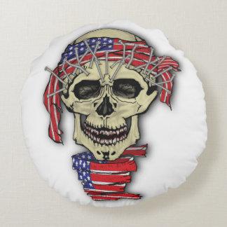 American Skull Round Pillow