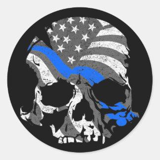 American Skull Thin Blue Line Classic Round Sticker