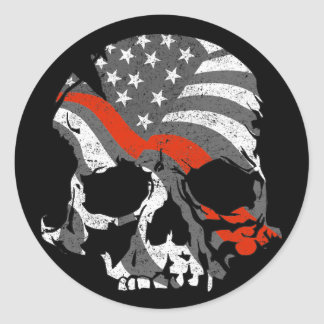 American Skull Thin Red Line Classic Round Sticker