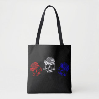 American Skulls Red White and Blue Tote Bag