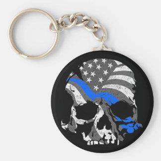 American Skulls Thin Blue Line Keychain