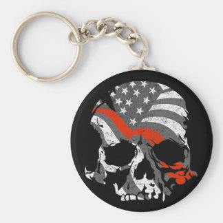 American Skulls Thin Red Line Keychain